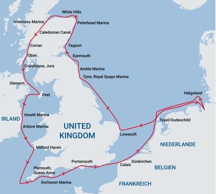 Reiseweg Britain Round